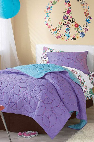 Girls Rooms Peace Sign Embroidered Quilt Girls