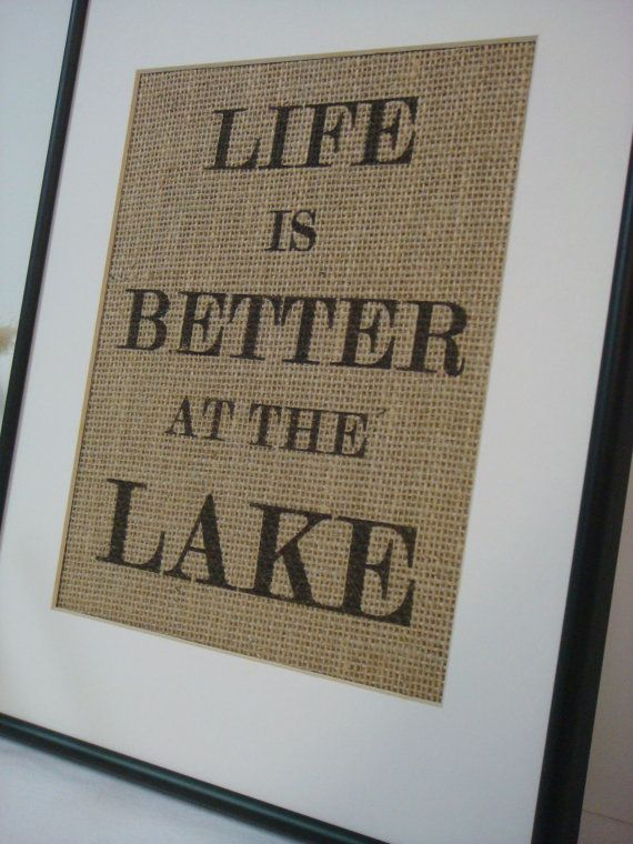 Lake House Sign on natural burlap cottage beach home decor