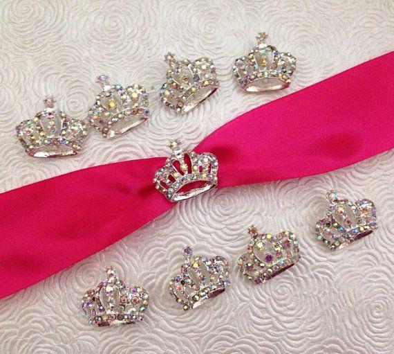 Princess Crown Rhinestone Buckle Slider Ribbon Slider