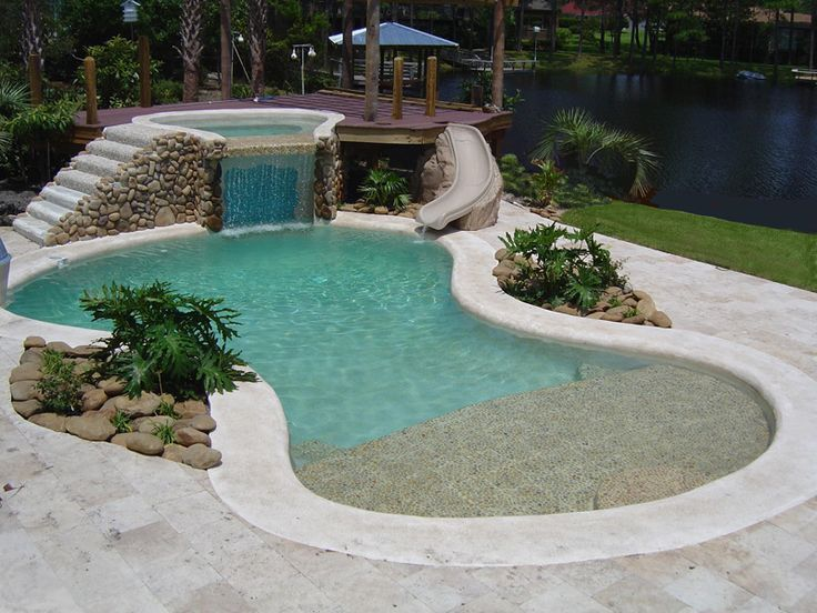 A #landscape Design Of #pool Along With A Small #waterfall