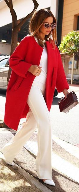Women's fashion | Chic white outfit with collarless red coat: