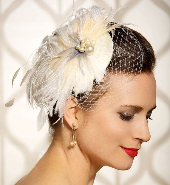 Bridal Hair Accessory Feathers Fascinator Birdcage Veil