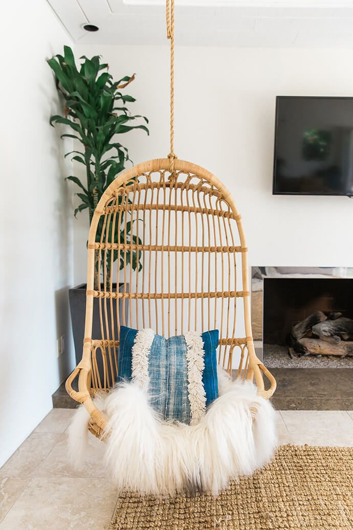 A Serene Bohemian Bungalow Swing chairs, Living room
