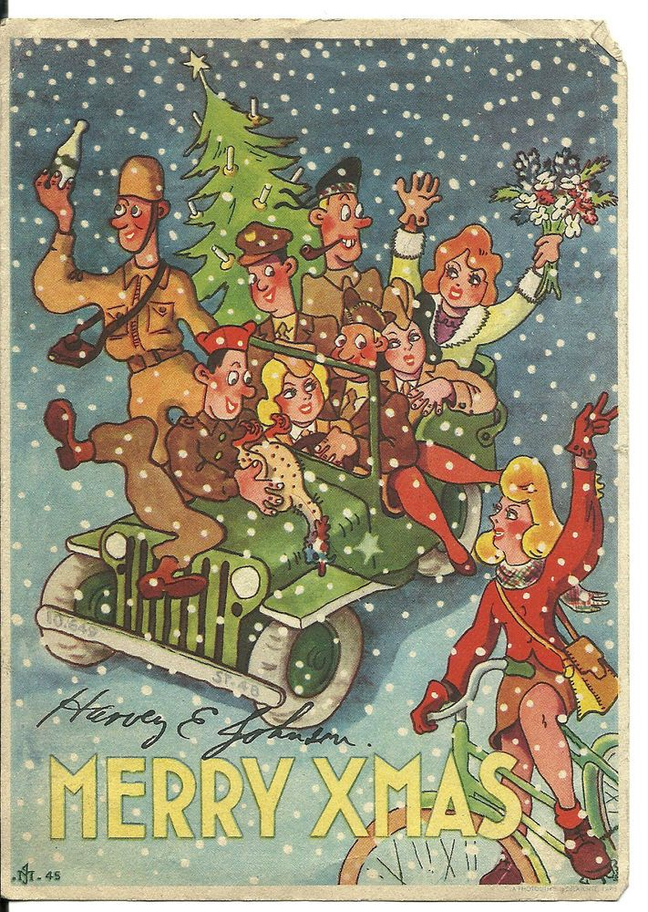 Rare world war 2 cartoon christmas card usa air mail circa