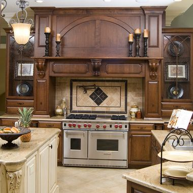 Kitchen Stove Surrounds With A Slanted Cabinet Hood 328