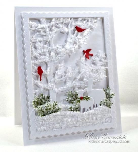 White On White Forest Scene By Kittie747 Cards And Paper