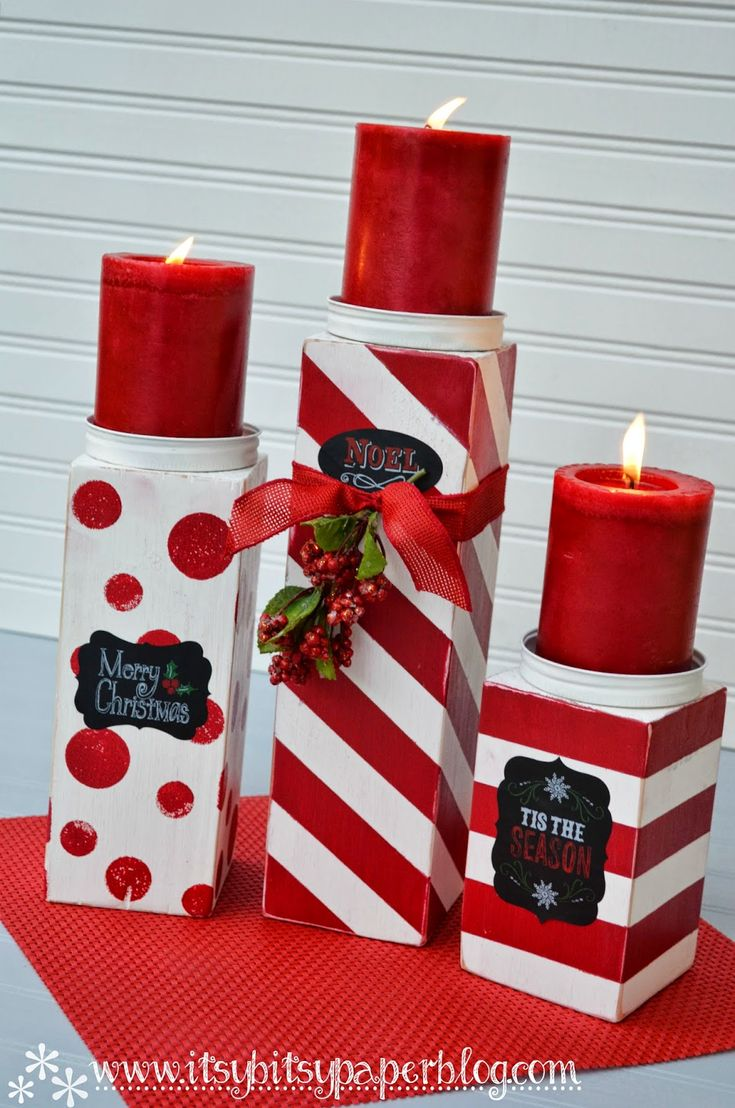 Itsy Bitsy Paper . . . DIY 4x4 Christmas Candlesticks
