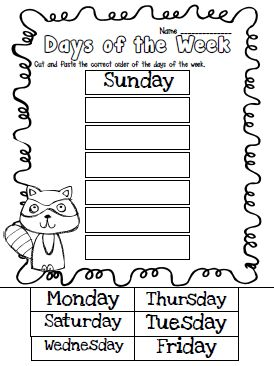 Days of the week cut & paste…math journal idea for the first week of school (because even in MAY I have