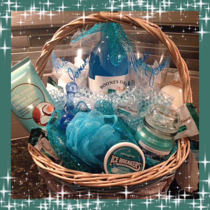Wedding or honeymoon gift basket for him and her , couples