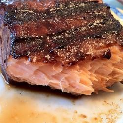Soy sauce  brown sugar salmon marinade. Wrap it in foil and bake at 425° for ap
