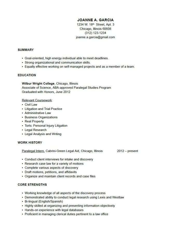paralegal sample resume and resume on pinterest