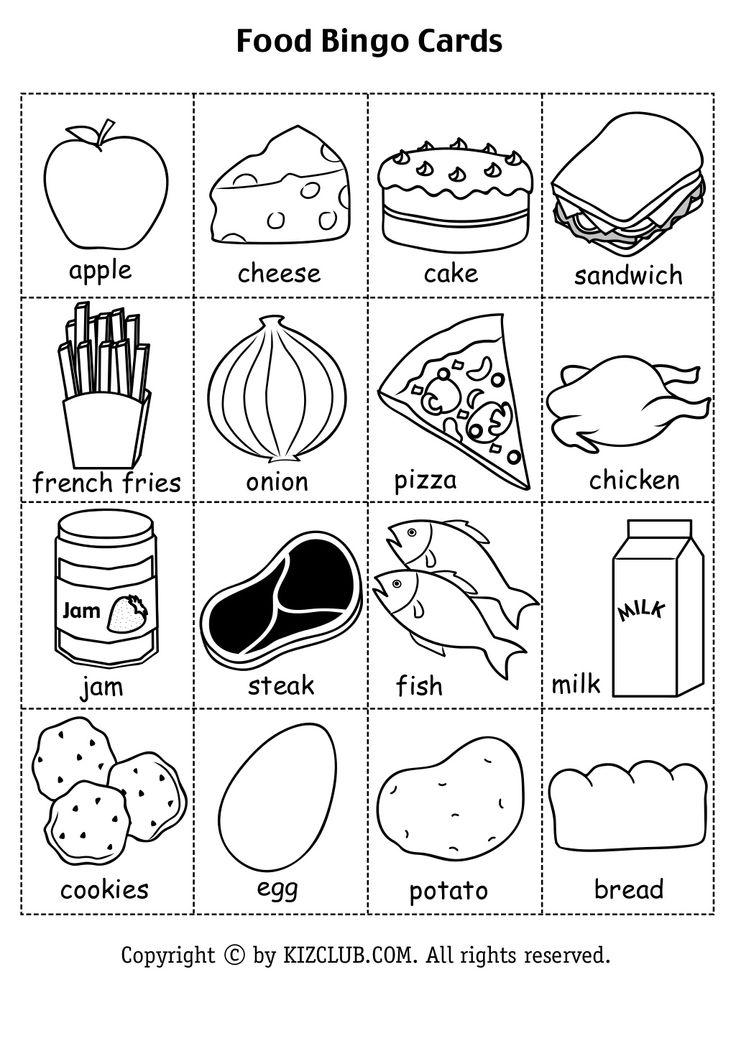 Food bingo (2) Educational Pinterest Bingo and Food