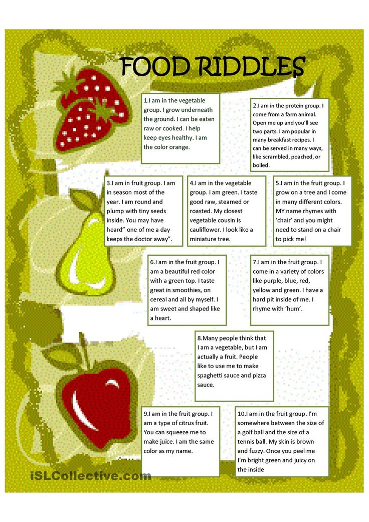 Food Riddles poems, riddles and rhymes Pinterest