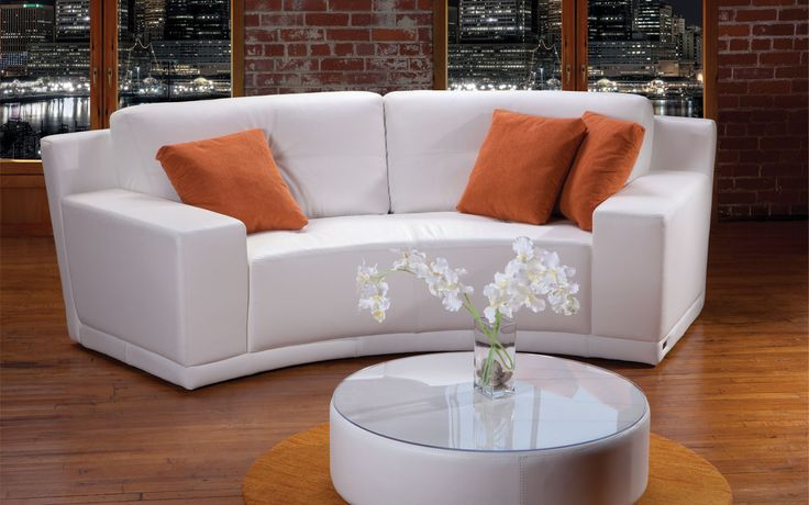 Sectional Expo Contemporary Style Platinum Collection Roundcurved White Leather Loveseat
