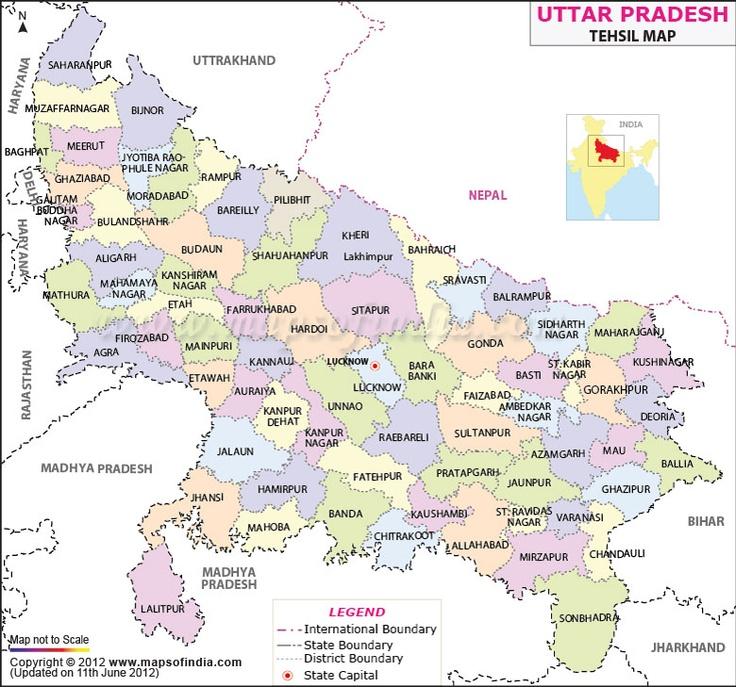 Uttar Pradesh Tehsil Map District Maps Pinterest Maps