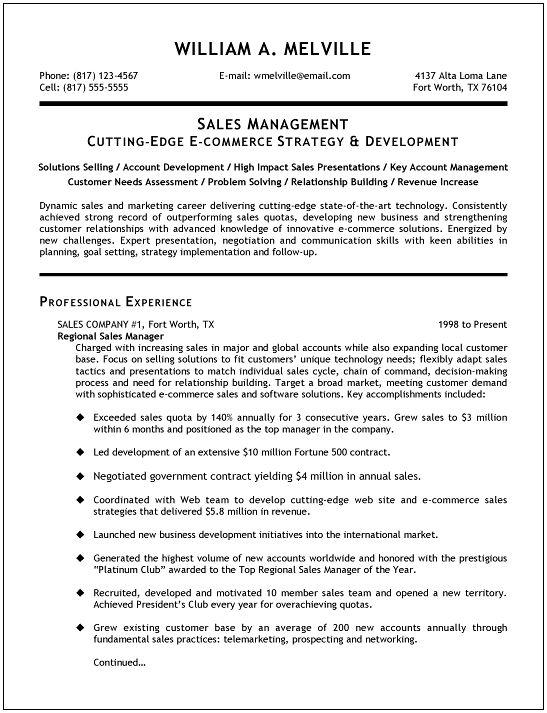 Best Resume For Sales. Good Resume Sales Associate Skills