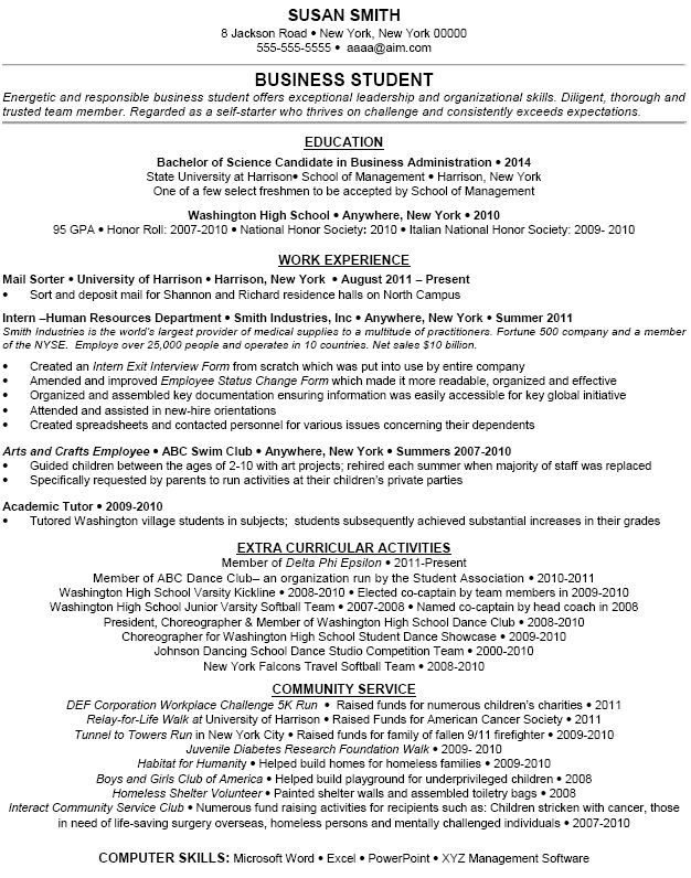 extracurricular activity student resume and resume examples on