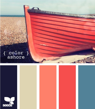 Inspiration in Blue: Decorating color palette -Coral and blue