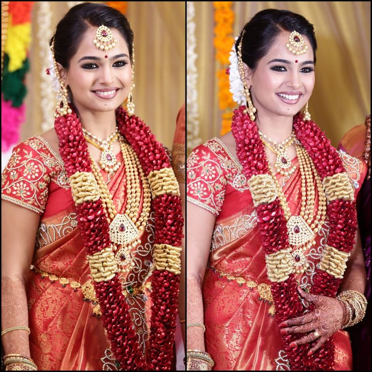 Traditional Southern Indian bride wearing bridal silk