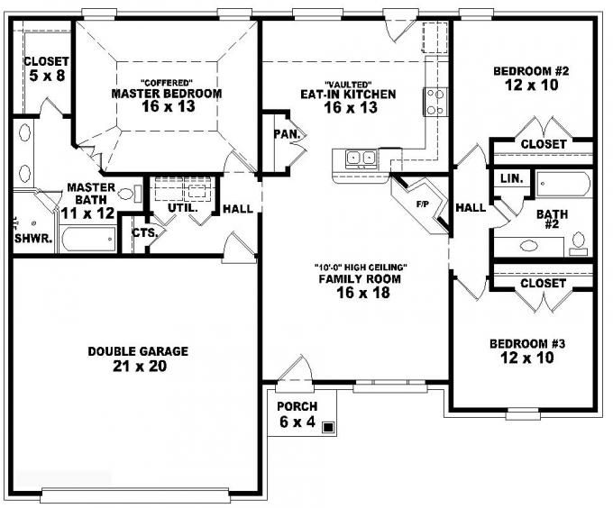 One-story 3 Bedroom, 2 Bath French Traditional