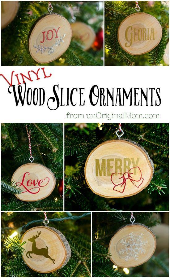 DIY Vinyl Wood Slice Ornaments Ornaments, Wood slices