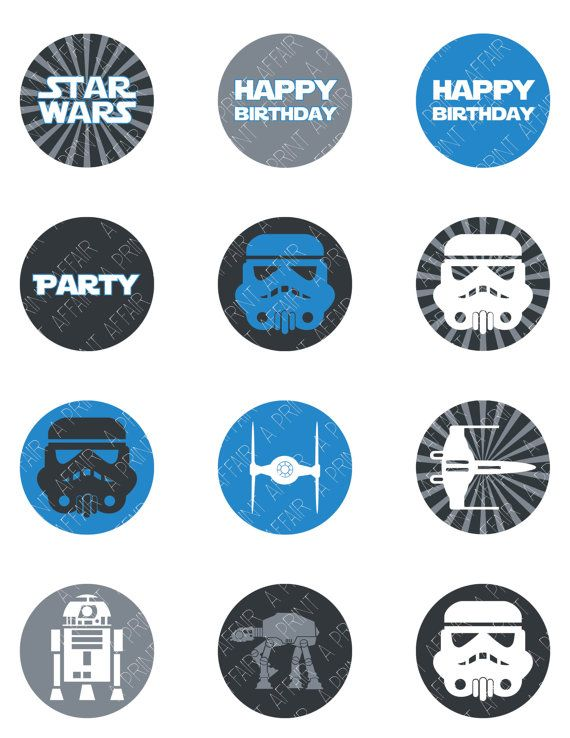 Star Wars Cupcake Toppers Birthday Party Printable By