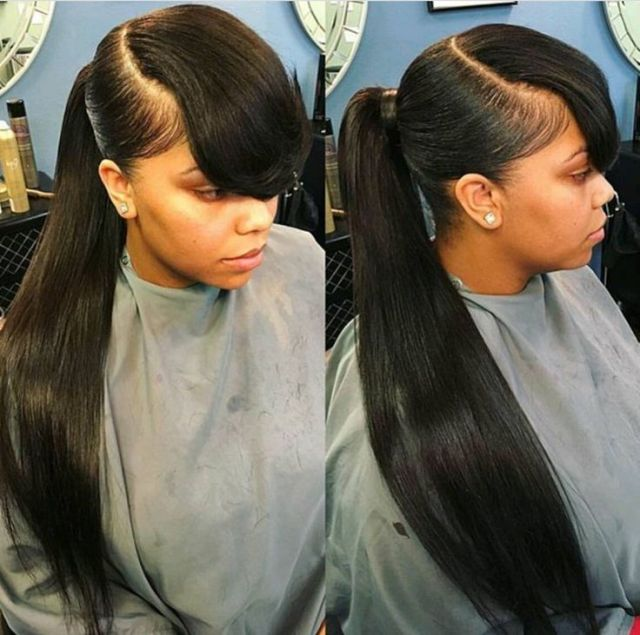 TheExtraMile long pony  and bangs  Natural Hair