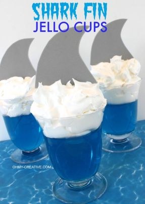Shark Fin Jello Cups perfect for a shark party or celebrating Shark Week     OHMY-CREATIVE.COM