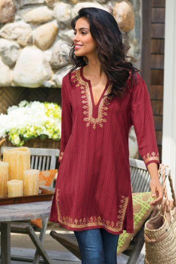 Kashmir Tunic I – Striped Tunic, Red Tunic Top, Sequin Tunic | Soft Surroundings