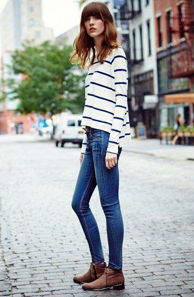 Weekend uniform | rag & bone stripe tee and skinny jeans.