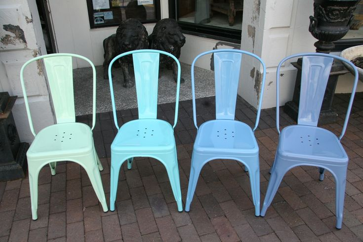 Tolix Chairs In Light Turquoise AMAZING COLOR COMBOS
