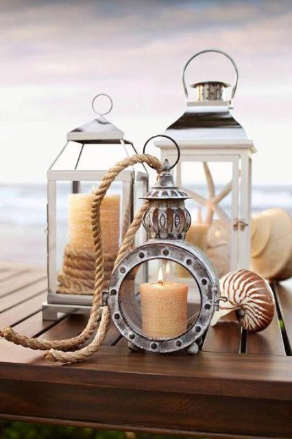coastal arrangements with lanterns