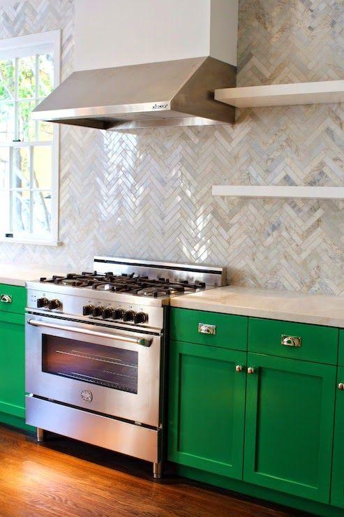 Lovely Kelly Green Kitchen With Herringbone Backsplash Home Pinterest Chevron Tile Green