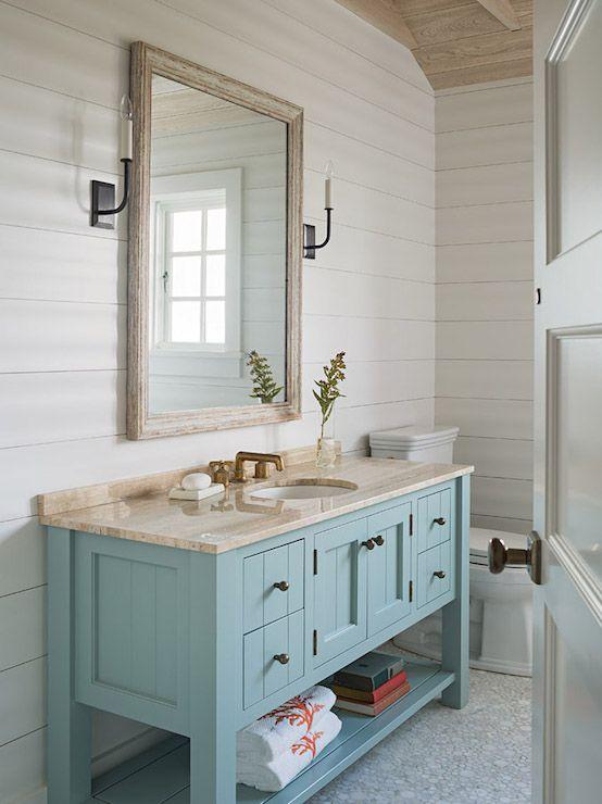 Turquoise Bathroom Vanity Cottage Bathroom Dearborn Builders Remodel Pinterest