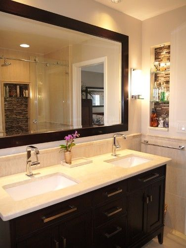 Small Master Bathroom With Light In Niche And Coordinating