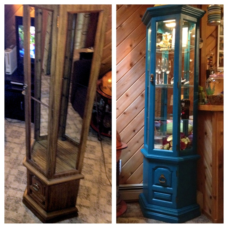 Curio Cabinet Before And After Rustoleum Spray Paint In Lagoon My Stuff Pinterest Sprays