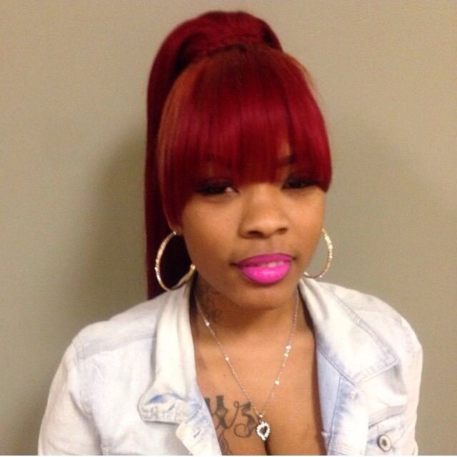 Red hair w bangs  ponytail  Weaves Extensions Pinterest