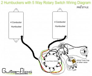 2 Humbuckers with 5 Way Rotary Switch Wiring Diagram
