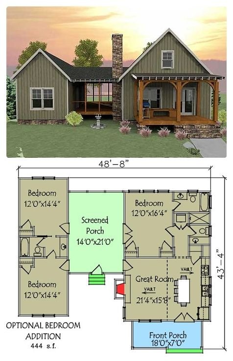 """""""This unique vacation house plan has a unique layout with a spacious screened porch separating the optional 2-bedroom section from"""
