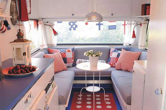 Decorating A Pop-Up Camper | Decorate a Camper in Red, White & Blue from Madison Avenue