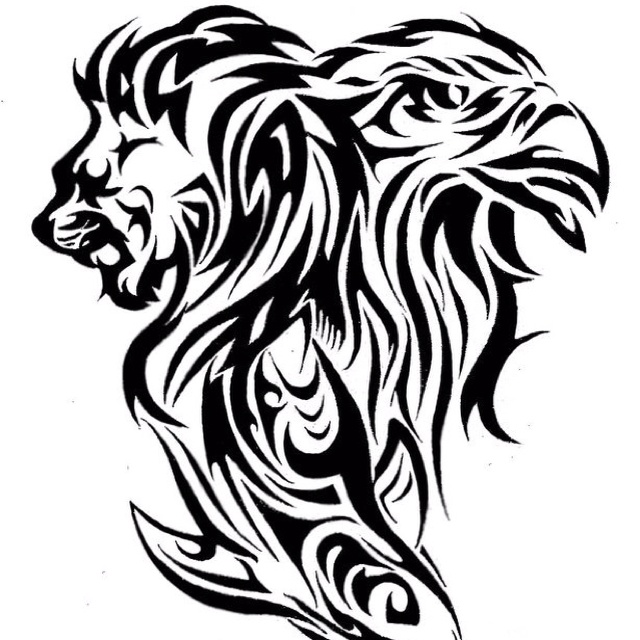 Tattoo design of a lion, eagle and shark Tatto