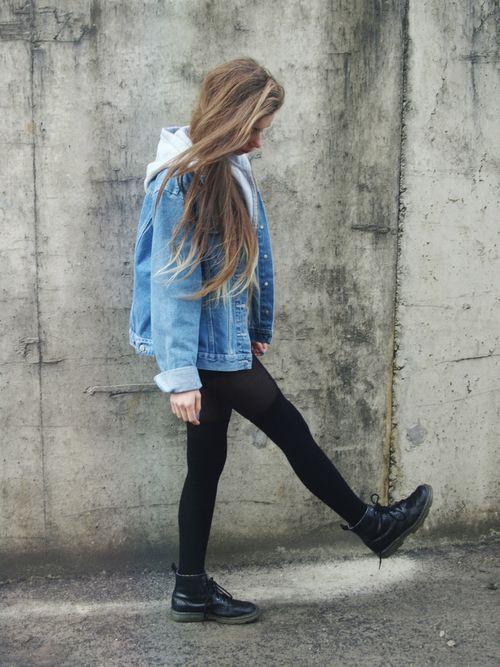 Denim Look #3 Denim Jacket/Vest Plain Shirt Denim Shorts Hose/Leggings Combat Boots  Funky Glasses