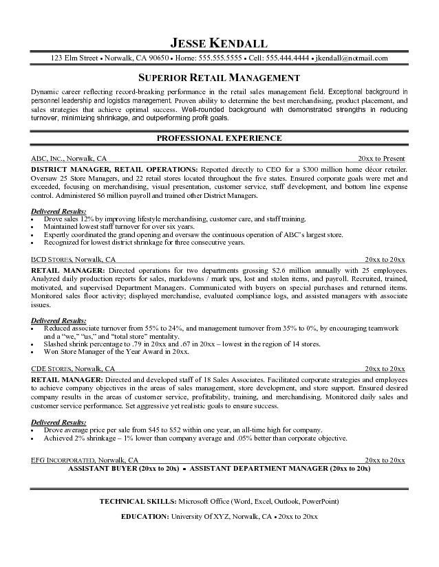Resume Examples Retail Objective. District Manager Resume Sample