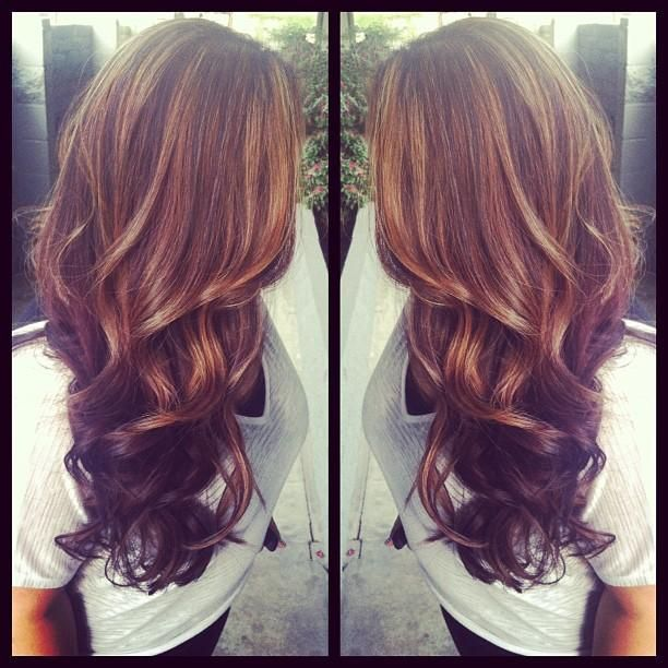 If I ever dies my hair, this is what I would do: Light brown highlights & dark b