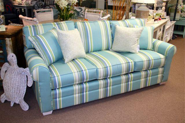 Beachy Striped Fabric On A Three Cushion Sofa Reminds Me
