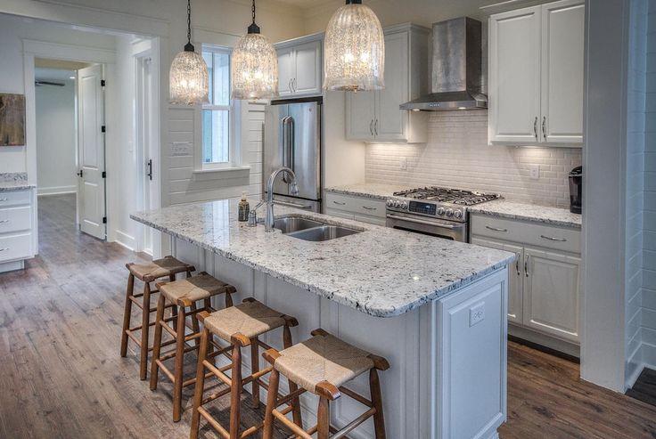 Traditional Kitchen With Kitchen Island MS International Bianco Frost Granite Complex Granite