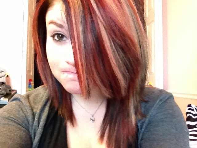 Short Black Hair With Red And Blonde Highlights Beauty