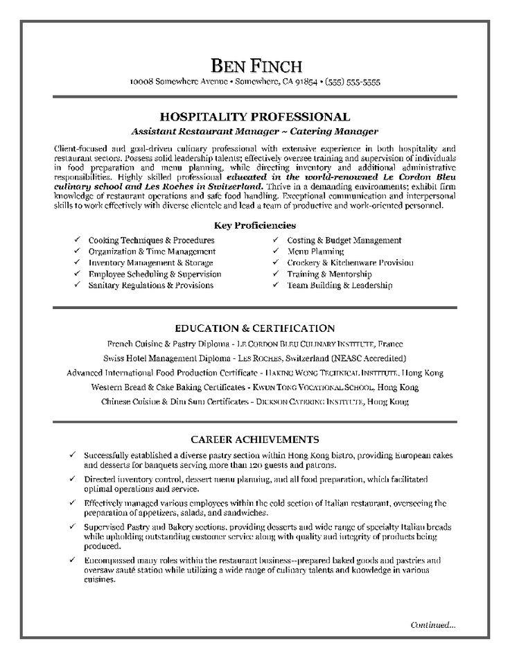 HospitalityResumeWriting ExamplePage1 Resume Writing