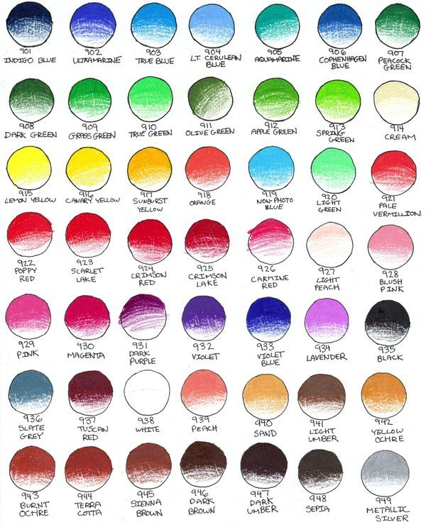Prismacolor Color pencils Chart 1 by peonyfantasy