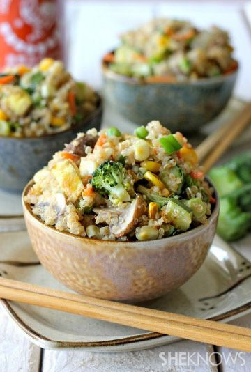 Quinoa veggie fried rice np peas or corn or soy sauce use coconut aminos